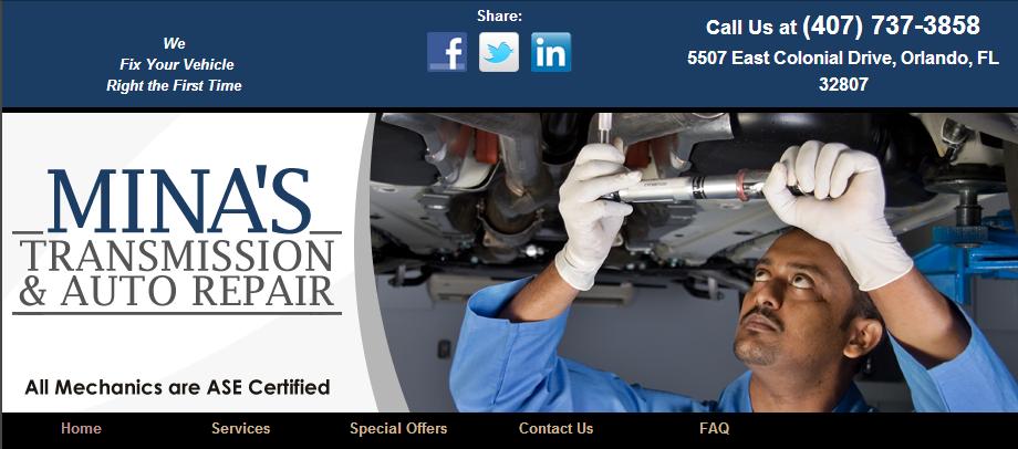 Mina's Transmission & Auto Repair, Orlando FL and Azalea Park FL, 32807, Auto Repair, Engine Repair, Brake Repair, Transmission Repair and Auto Electrical Service