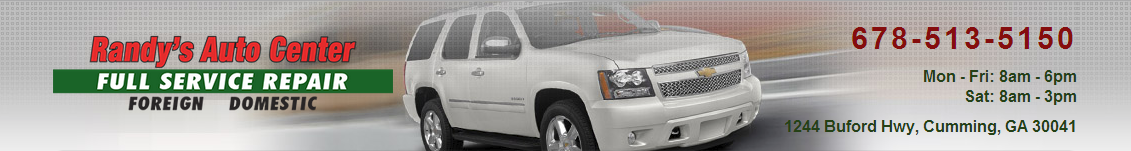 Randy's Auto Center, Cumming GA, 30041 and 30040, Auto Repair, Nissan Repair, Exhaust Repair, Emissions Repair and Jeep Repair